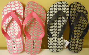 Girls-Old-Navy-Flip-Flop-Sz-10-11-12-13-1-2-Black-Pink-Hearts-Silver-NWT