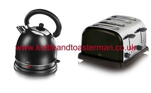SWAN BLACK CORDLESS DOME KETTLE & 4 SLICE TOASTER SET sk23010 & st14020