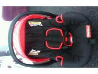 Car/carrier seat, bundle of baby boys clothing, a bath seat, sleeping bag and play gym