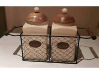 tea and coffee jars in wire basket