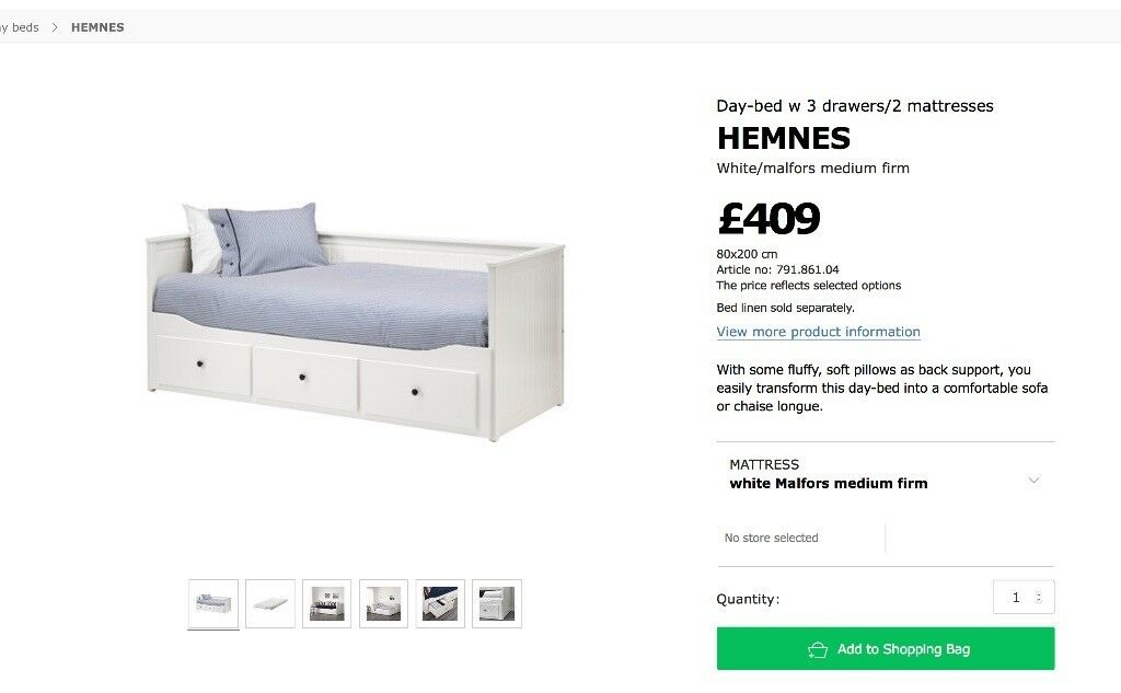 BARGAIN Ikea Hemnes Daybed Frame only - White good condition   in ...