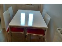 Leekes exclusive casa white gloss and chrome dining table and 4 chairs