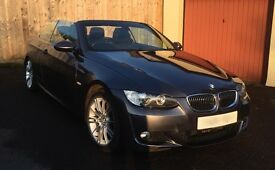 BMW 330d M Sport Convertible 07 plate, gun metal grey, leather int, 12 mths MOT, FSH, key checked