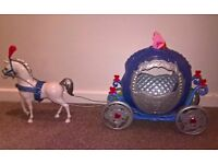 Cinderella's magic carriage and horse, with light up Cinderella doll