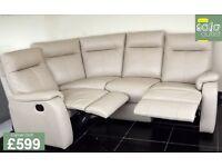 Designer cream leather 4 piece corner sofa (151) £599