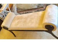 Ivory velvet large footstool seat luxurious was £500 new see pictures for description