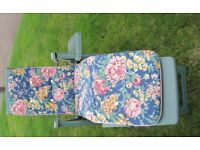 Genuine Keter quality garden furniture comprises one lounger with cushions. Sell for £50.