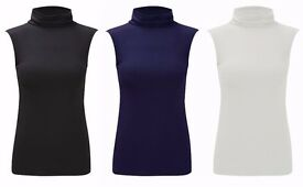 Ladies Plain Polo Neck Sleeveless Stretch Turtle Jersey Basics Top 2 for £7