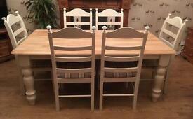 Solid wood large dining table with six chairs