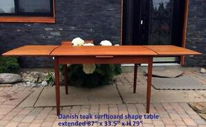 REFINISHED Danish MCM Teak Dining Tables Extendable with 2 Leaves / Pocket Draw Leaf - 5 different, priced individually