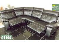 Designer black leather 4 piece corner sofa (333) £1199