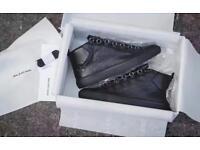 Balenciaga Arena Black Calfskin Leather High Top Designer Sneakers