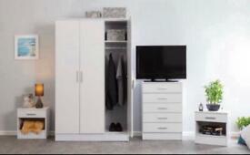 4 Piece Wardrobe Set White