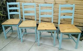 """Set of 4 """"Ladder back"""" chairs - Duck Egg Blue - Shabby chic"""