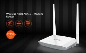 Tenda Broadband CPE Wireless N300 ADSL2+ Modem Router - D301v2