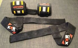 Powerlifting weightlifting wrist supports and lifting straps (used but good condition)
