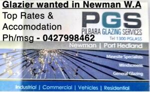 Glazier / security installer / auto glazier Newman Pilbara Region