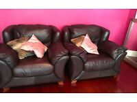 3 Seater Sofa and 2 Armchairs - Chocolate Brown Leather - Good Quality