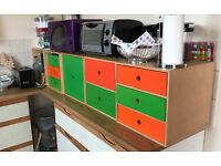 Six individual box drawers