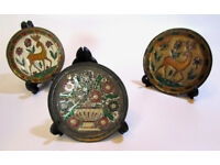 Antique small decorative metal enamel wall plate set with stand