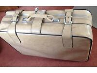Large leather suitcase, vintage