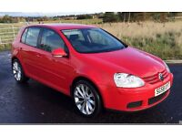 "2008 ""58"" Volkswagen Golf 2.0 SDi DIESEL five door hatch in Red ,turbine alloys, Mot May 2017 hist"