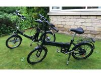 2 x folding electric bikes for sale. Both equipped with grip change shimano gears. Good condition