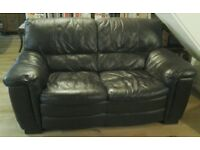 Soft dark brown leather 2 seater sofa, very comfortable, excellent condition, reduced for quick sale