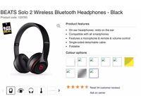 Dr Dre Beats Solo 2 Wireless [Original Receipt & Barcode Check]