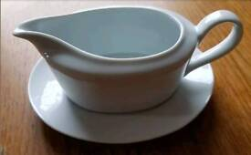 White gravy boat and saucer