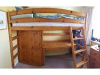 Cabin/midi Sleeper bed frame with wardrobe and desk