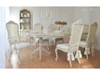 *** UNIQUE and BEAUTIFUL *** French Antique Shabby Chic Dining Table with Six Cane Chairs !!!