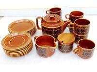 1970s Hornsea Pottery Autumn Brown Heirloom Tea Set