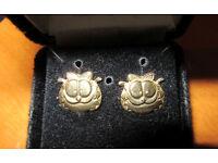 Vintage 9ct Gold Garfield Earrings