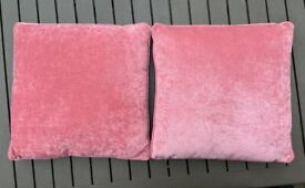 Square sofa pillows in Pink velvet 16x16 inches