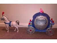 Cinderella's carriage and horse with light up Cinderella doll