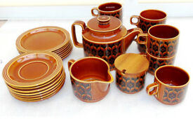 1970s Hornsea Pottery Autumn Brown Heirloom Tea Set