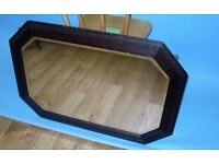 "Edwardian vintage bevel edged mirror, very heavy, carved wooden frame 33"" x 24"" approx"