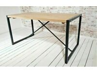 Industrial Dining Kitchen Table Stripped Rustic Red European Oak Anthracite Grey, used for sale  Old Town, Edinburgh