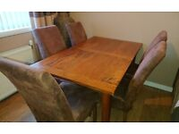 Solid mango wood dining table and 6 chairs