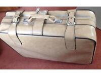 Large leather suitcase, vintage