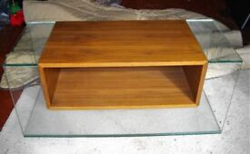 GLASS & WOOD TV STAND OR OCCASIONAL TABLE