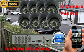 8 Camera Full HD 1080p CCTV Security Camera Kit, 8x 1080p Dome Cameras, 1080p DVR, 2TB Hard Drive
