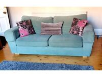 2 x Identical Sage Green 3 Seater Sofas