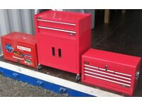 Lot 3 Garage Tool Cabinets Boxes (2 Redline) with Assorted Hand Tools