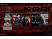 Kodi tv box with Kodi 17 Krypton and 4 live Tv apps