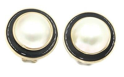 Mabe White Pearl Earrings with Black Onyx and 14k Yellow Gold Omega -