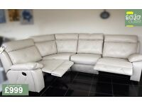 Designer Cream leather 4 piece corner sofa (343) £999