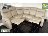 Designer dark cream leather 5 piece corner sofa (150) £699