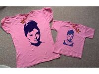 Brand New Audrey Hepburn t-shirts, one 12-14 ladies and one 2-3yrs girls